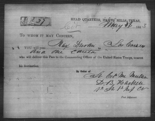 Duran, Max - State: Texas - Year: 1863