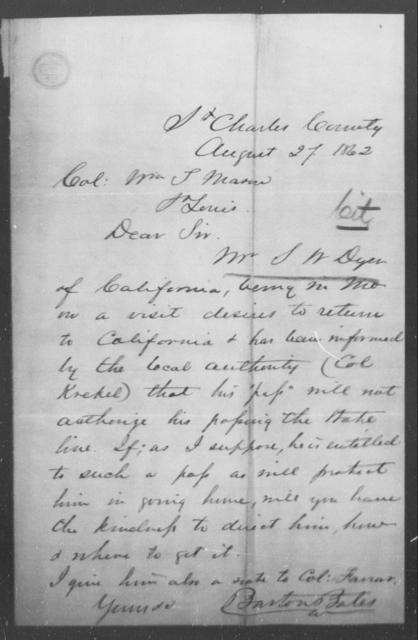 Dyer, S W - State: Missouri - Year: 1862