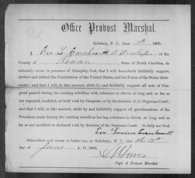 Earnheart, Eva Lovina - State: North Carolina - Year: 1865