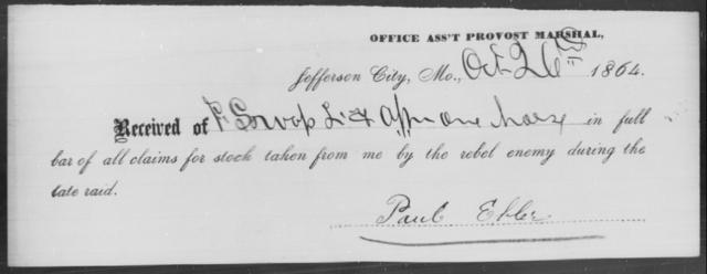Ebler, Paul - State: Missouri - Year: 1864