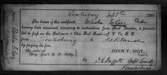 Elsey, Elisha - State: [Blank] - Year: 1861