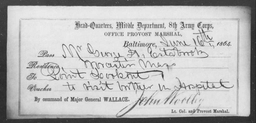 Estabrook, George H - State: [Blank] - Year: 1864