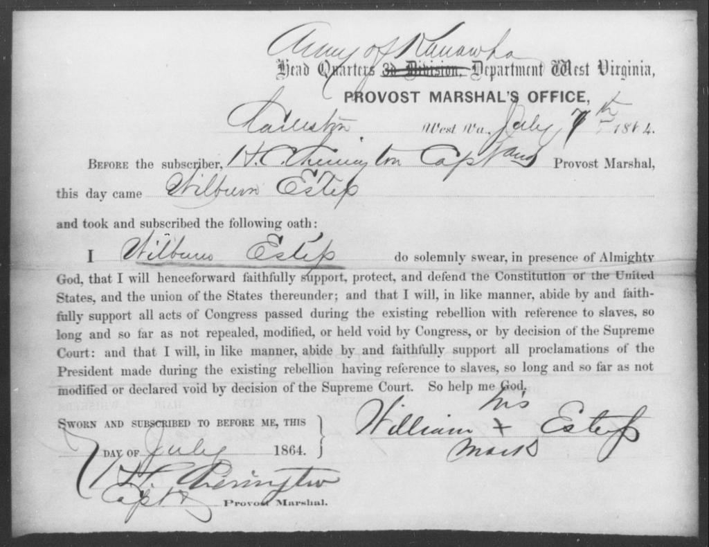 Estep, Wilburn - State: Virginia - Year: 1864