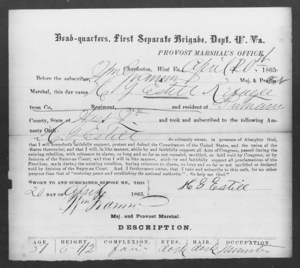Estill, H G - State: Virginia - Year: 1865