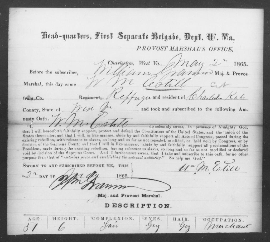 Estill, W M - State: Virginia - Year: 1865