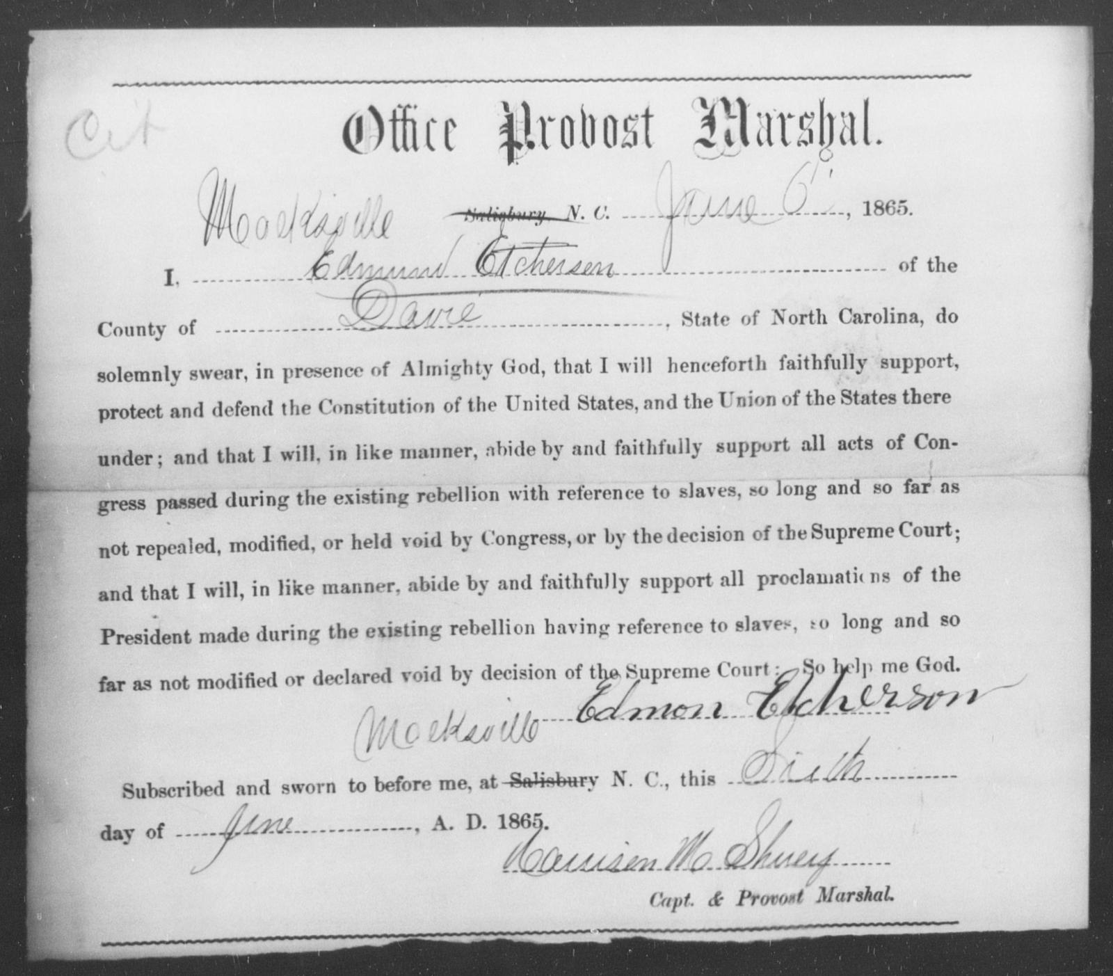 Etcherson, Edmund - State: North Carolina - Year: 1865