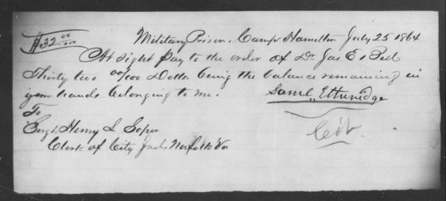 Etheridge, Saml - State: Virginia - Year: 1864