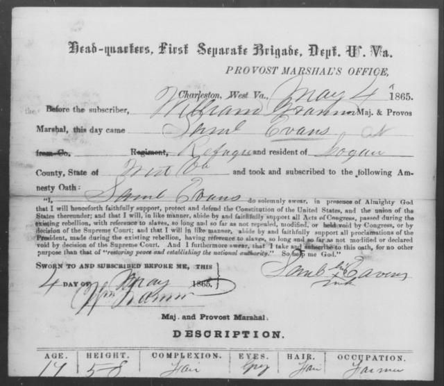 Evans, Saml - State: West Virginia - Year: 1865