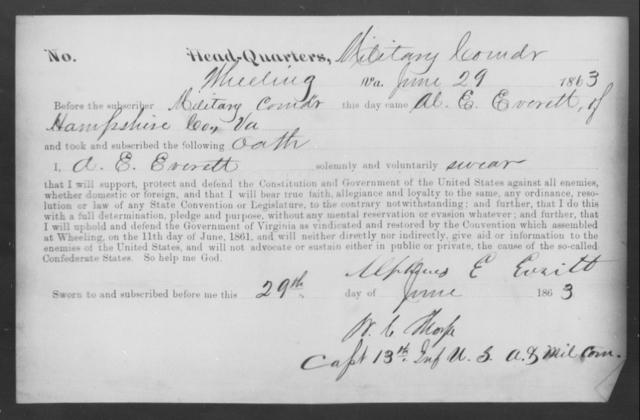 Everett, Alpheus E - State: Virginia - Year: 1863