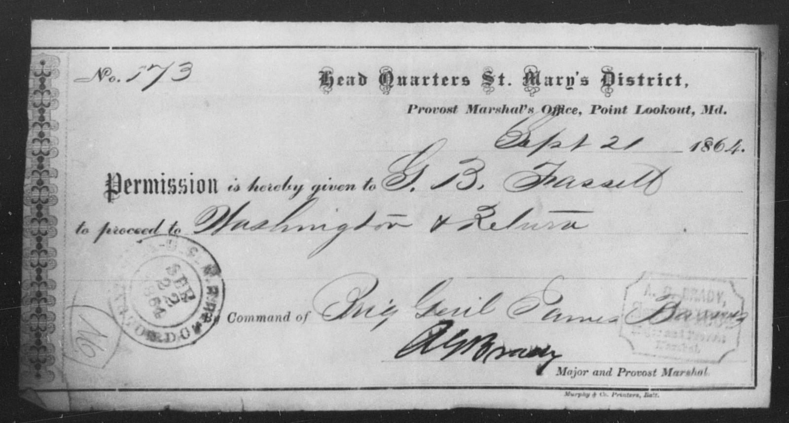 Fassett, G B - State: Maryland - Year: 1864