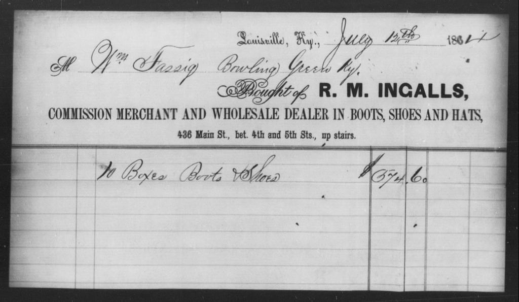 Fassig, Wm - State: Kentucky - Year: 1864
