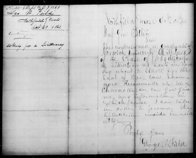 Fields, George W - State: Massachusetts - Year: 1861