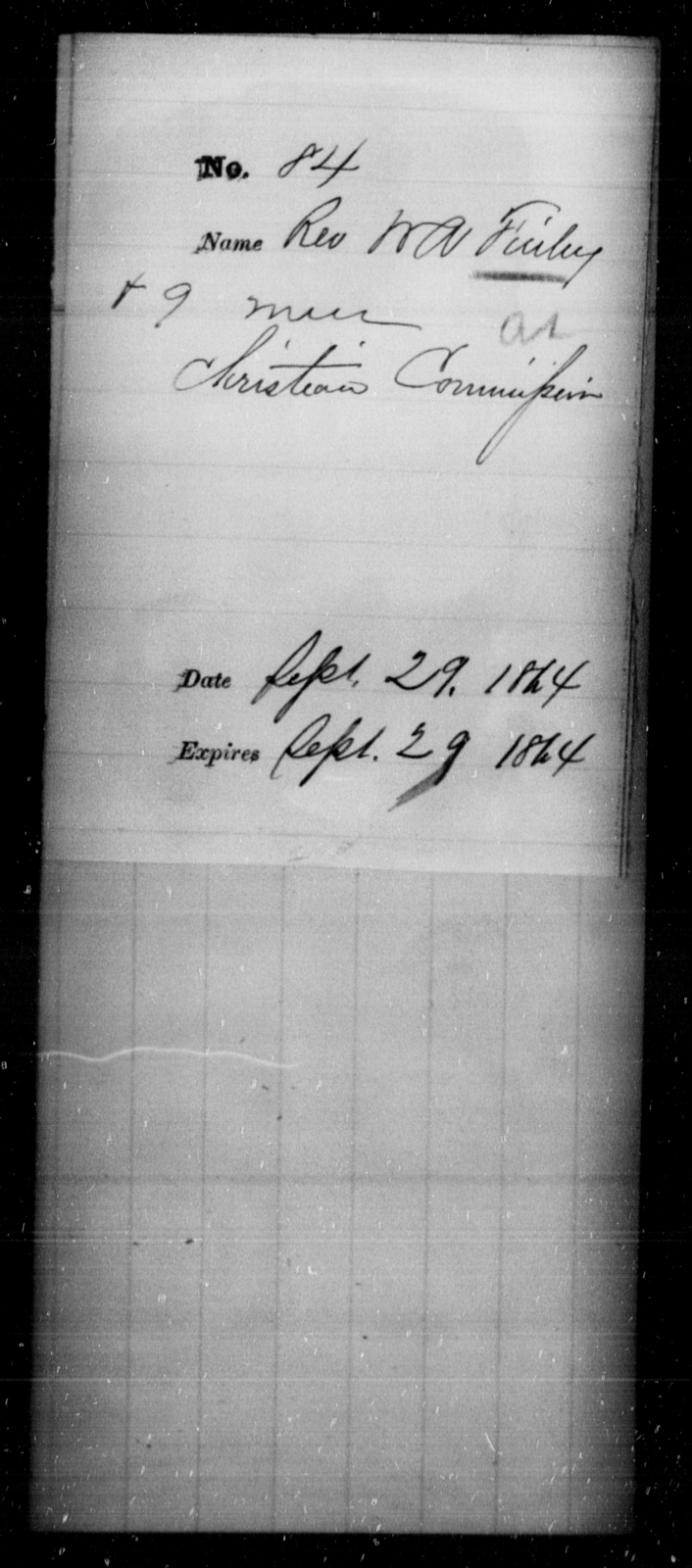 Finley, W A - State: [Blank] - Year: 1864