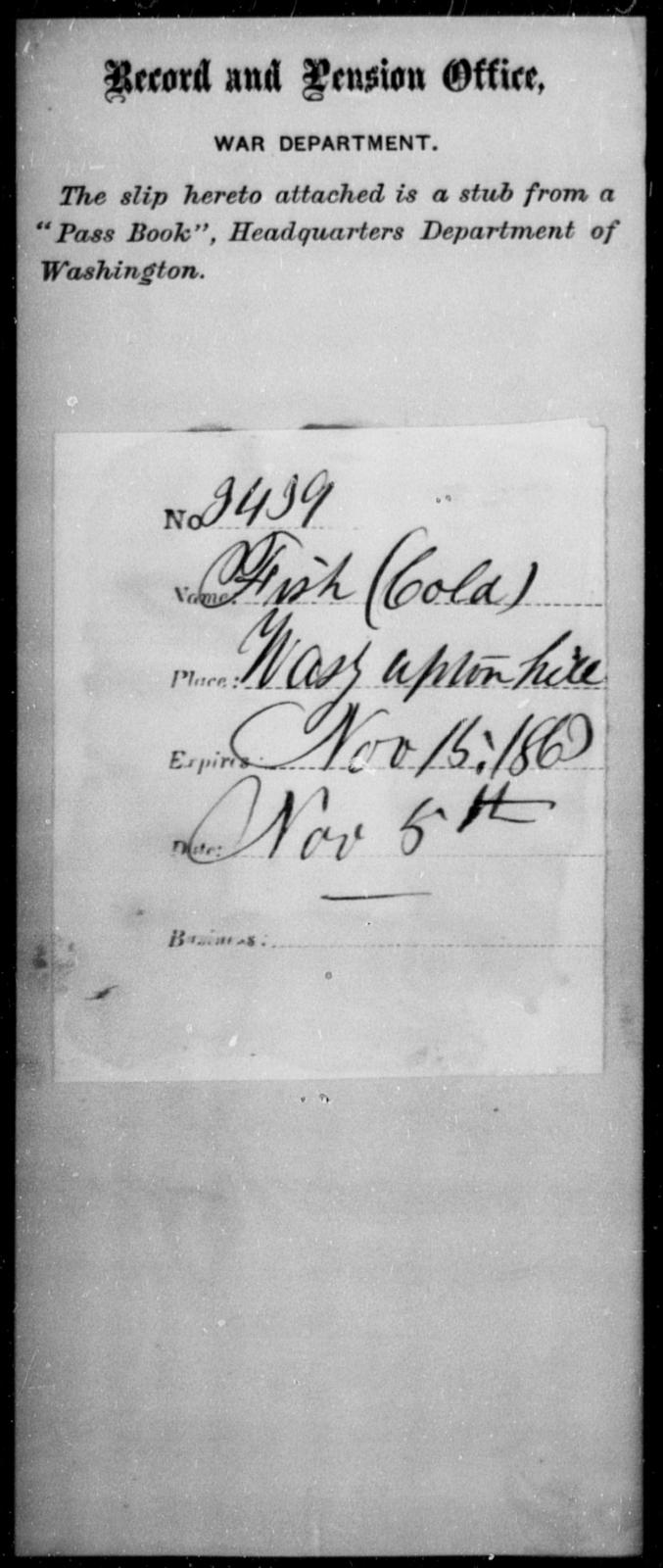 Fish, [Blank] - State: Washington - Year: 1863