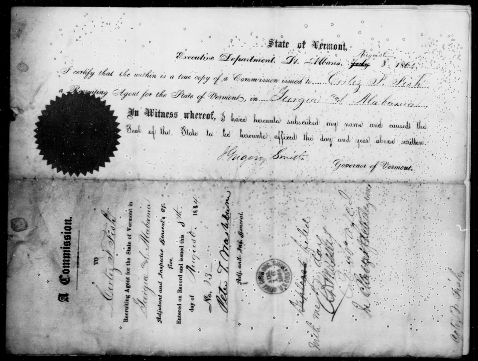 Fish, Curtez F - State: Alabama - Year: 1864