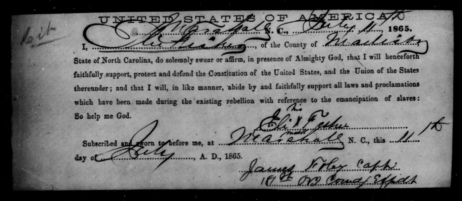 Fisher, Eli - State: North Carolina - Year: 1865