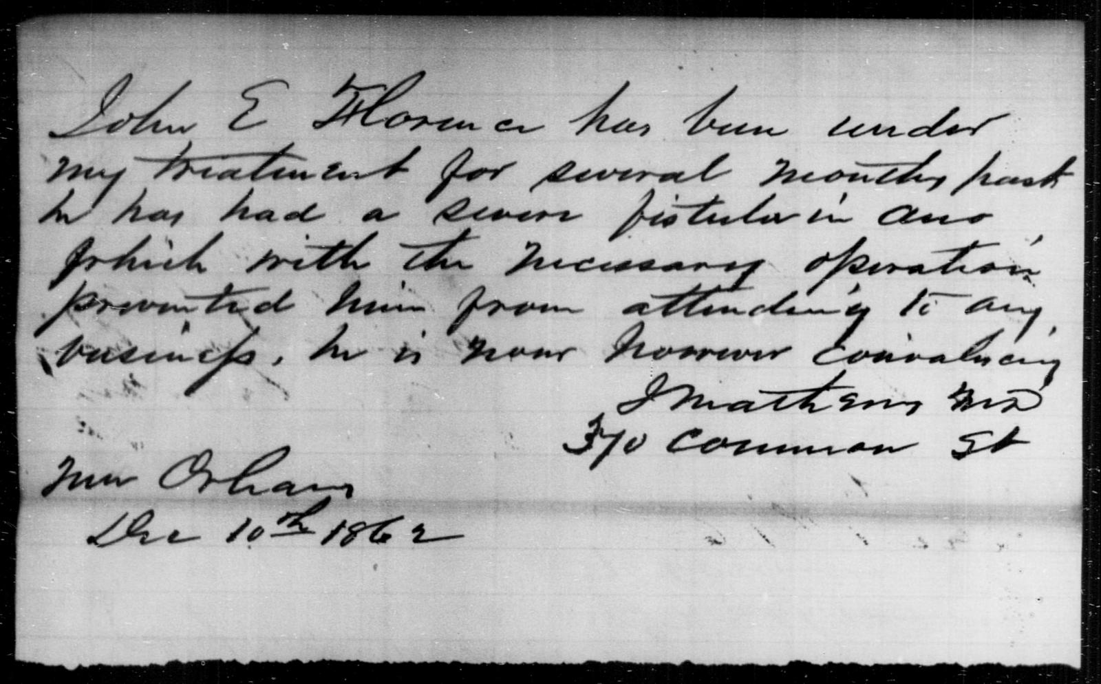 Florence, John E - State: [Blank] - Year: 1862