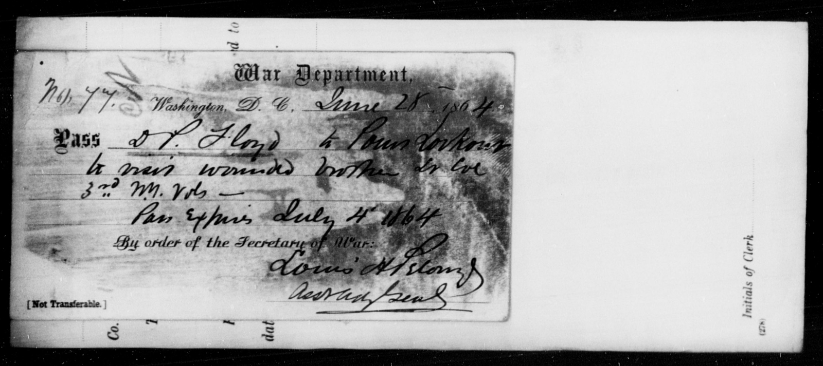 Floyd, D P - State: District of Columbia - Year: 1864