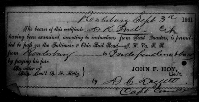 Ford, D K - State: Ohio - Year: 1861
