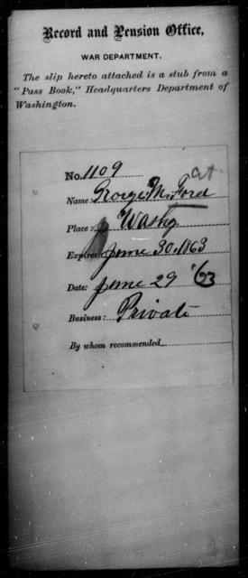 Ford, George M - State: Washington - Year: 1863