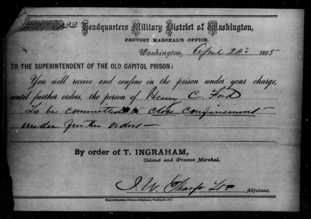 Ford, Henry C - State: Washington - Year: 1865