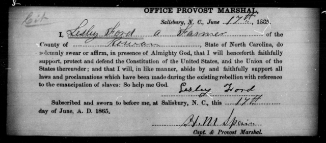 Ford, Lesley - State: North Carolina - Year: 1865