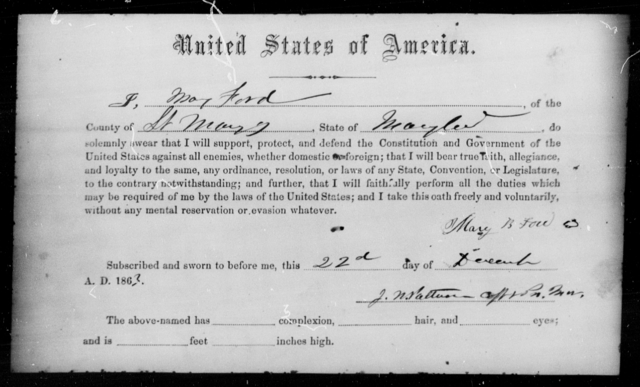 Ford, Mary - State: Maryland - Year: 1863