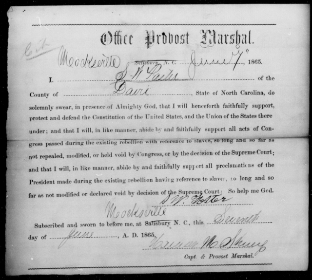 Foster, S W - State: North Carolina - Year: 1865