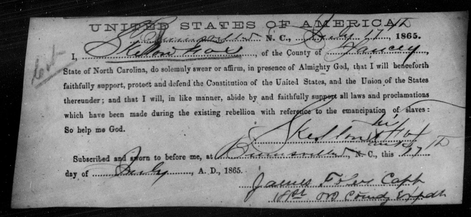 Fox, Skelton - State: North Carolina - Year: 1865