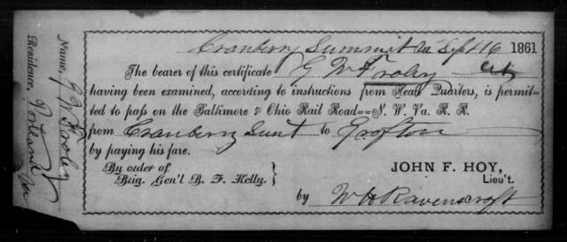 Fraley, G N - State: Ohio - Year: 1861