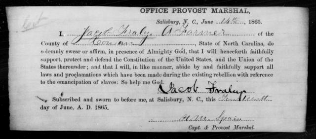 Fraley, Jacob - State: North Carolina - Year: 1865