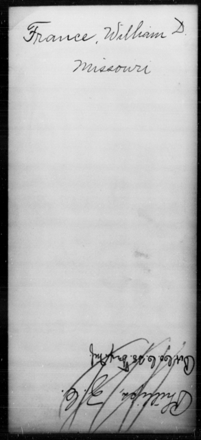 France, William D - State: Missouri - Year: [Blank]