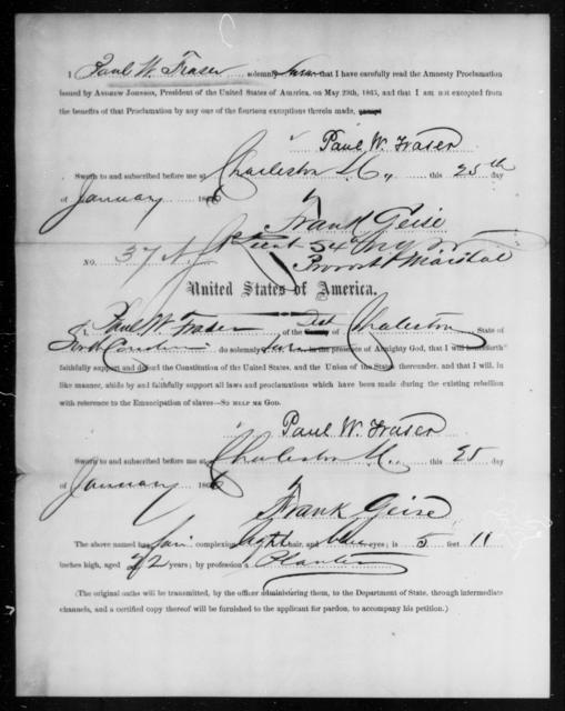 Fraser, Paul W - State: South Carolina - Year: 1866