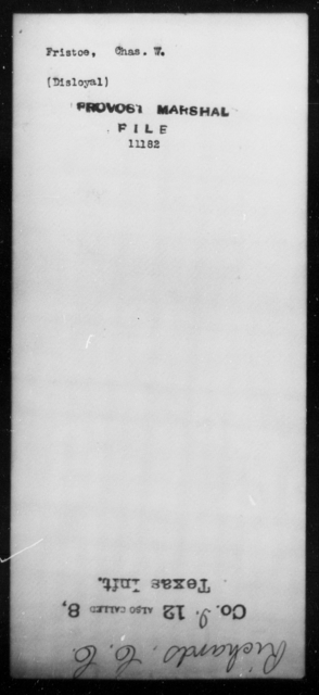 Fristoe, Chas W - State: [Blank] - Year: [Blank]