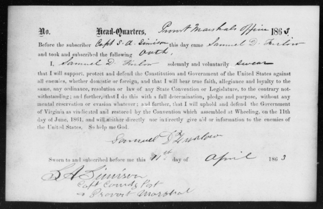 Furlow, Samuel D - State: [Blank] - Year: 1863