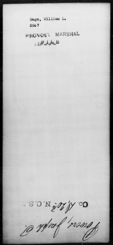 Gage, William L - State: [Blank] - Year: [Blank]