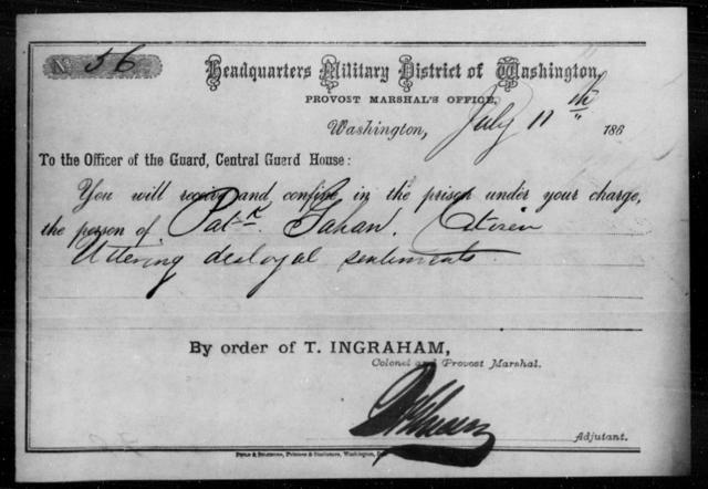 Gahan, Patk - State: District of Columbia - Year: 1863