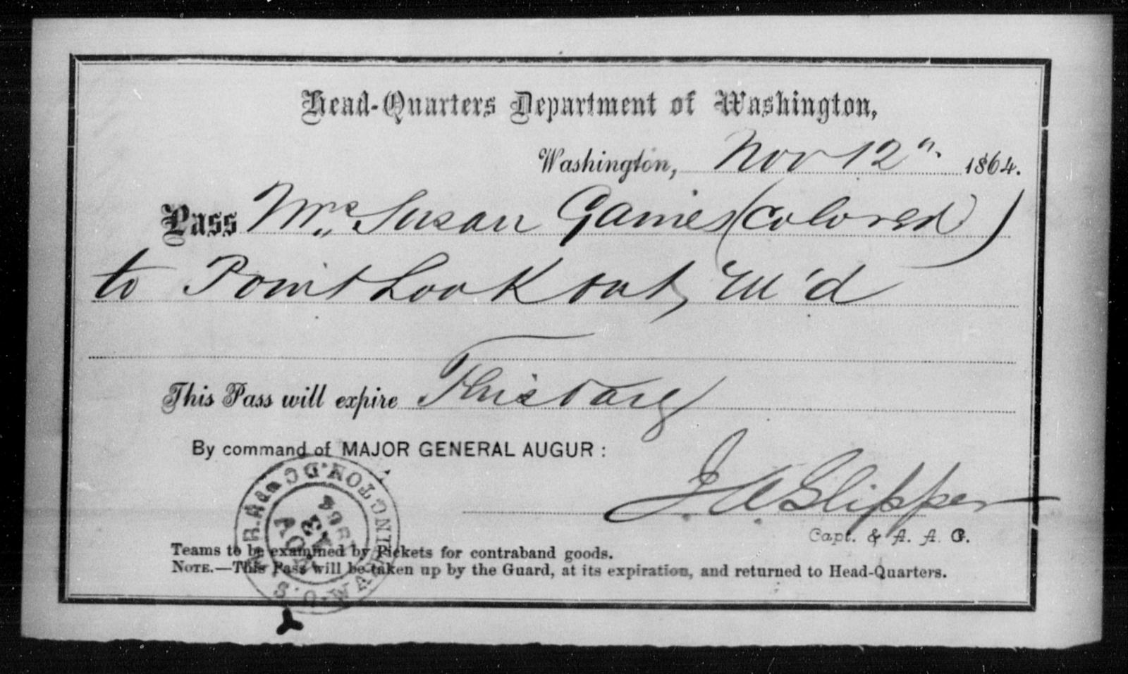 Gaines, Susan - State: Washington - Year: 1864