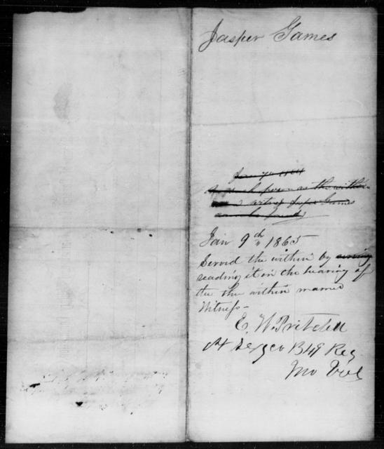 Games, Jasper - State: [Blank] - Year: 1865