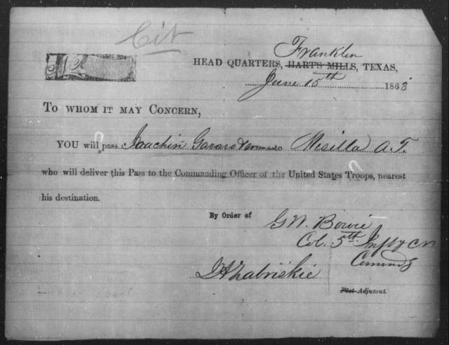 Gararo, Joachin - State: Texas - Year: 1863