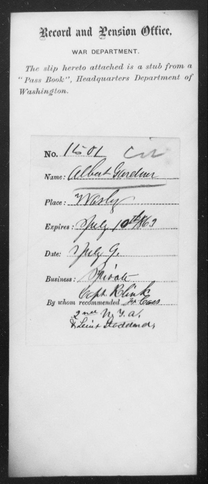 Gardner, Albert - State: Washington - Year: 1863