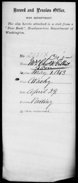 Gilbert, Chas W - State: Washington - Year: 1863