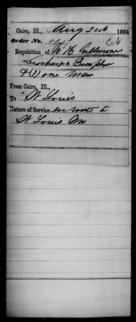 Gillmore, W H - State: Illinois - Year: 1864