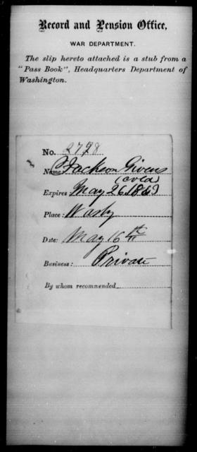 Givens, Jackson - State: Washington - Year: 1863