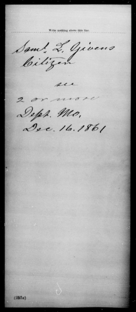 Givens, Saml L - State: Missouri - Year: 1861
