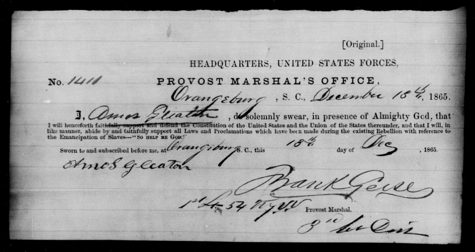 Gleaton, Amos - State: South Carolina - Year: 1865
