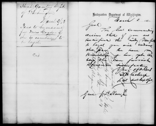 Goods, [Blank] - State: Washington - Year: 1863