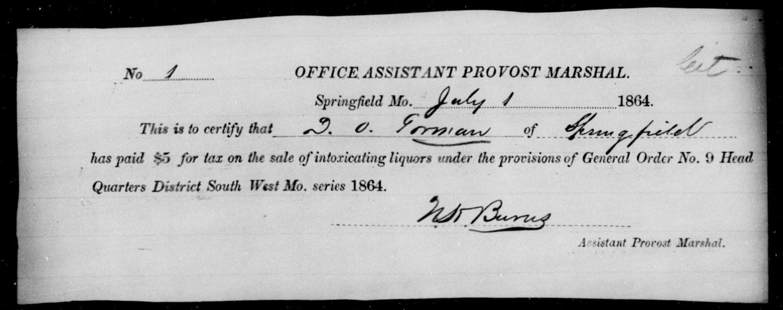 Gorman, D O - State: Missouri - Year: 1866