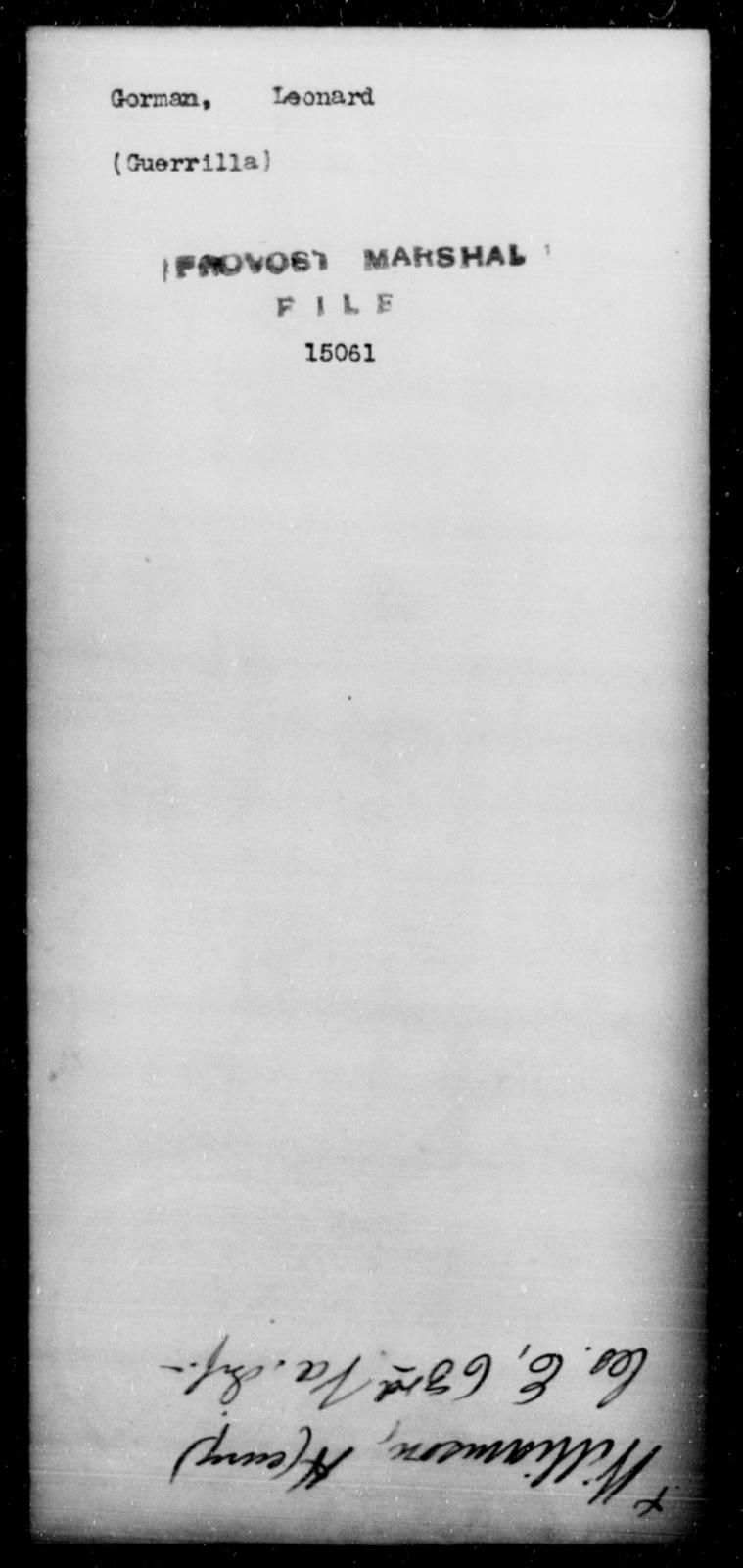 Gorman, Leonard - State: [Blank] - Year: [Blank]