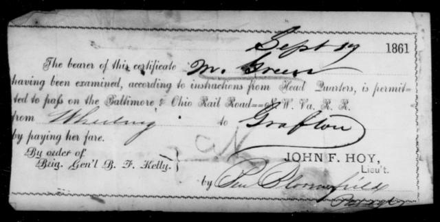 Green, [Blank] - State: [Blank] - Year: 1861